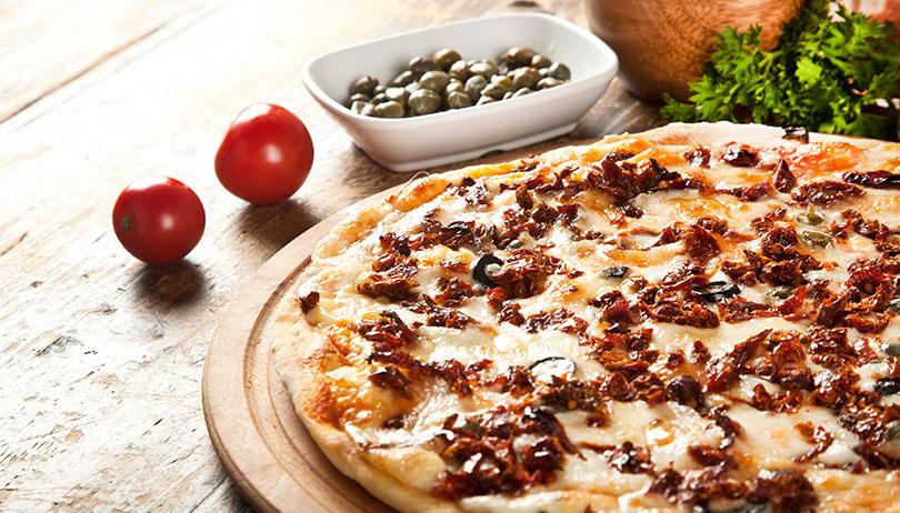 New taste of italian pizza in stewey's shop
